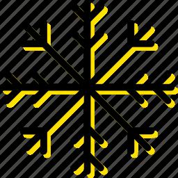 forecast, snowflake, weather, yellow icon