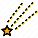 falling, forecast, star, weather, yellow icon