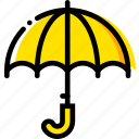 forecast, umbrella, weather, yellow