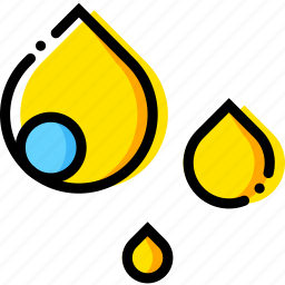 forecast, raindrops, weather, yellow icon