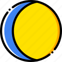 crescent, moon, waning, yellow icon