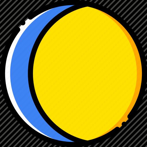crescent, moon, waning, yellow icon