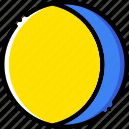 forecast, gibbous, moon, waning, weather, yellow icon