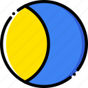forecast, gibbous, moon, waxing, weather, yellow icon