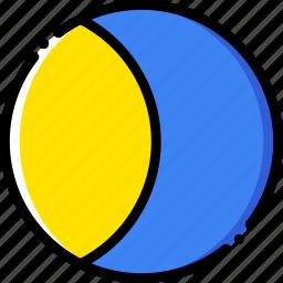 forecast, gibbous, moon, waxing, weather, yellow icon