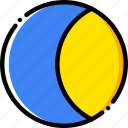 crescent, forecast, moon, waxing, weather, yellow icon