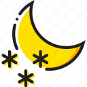 forecast, nighttime, snow, weather, yellow icon
