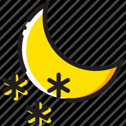 forecast, nighttime, snow, weather, yellow icon
