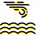 calm, forecast, sea, weather, yellow icon