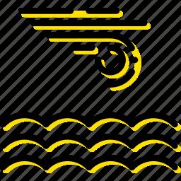 calm, forecast, sea, weather, yellow icon