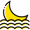 forecast, moon, seaside, setting, weather, yellow icon