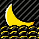 forecast, moon, seaside, setting, weather, yellow icon