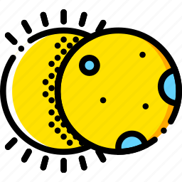 eclipse, forecast, solar, weather, yellow icon