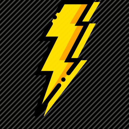 forecast, lightning, weather, yellow icon
