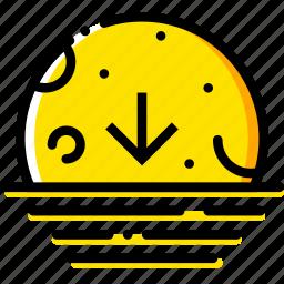descending, forecast, moon, weather, yellow icon