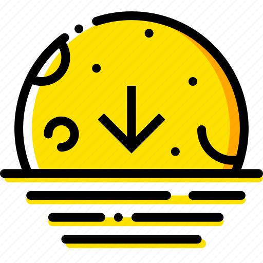 descending, forecast, moon, weather, yellow icon