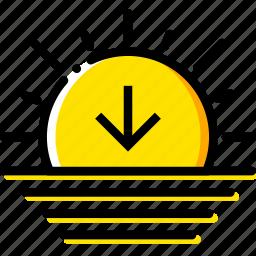 forecast, sunset, weather, yellow icon