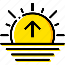forecast, sunrise, weather, yellow icon