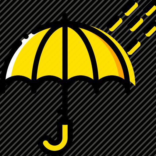 forecast, rainy, time, weather, yellow icon