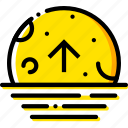 ascending, forecast, moon, weather, yellow icon