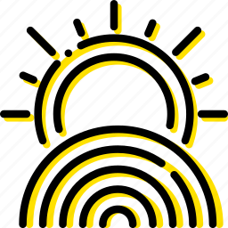 forecast, rainbow, sunny, weather, yellow icon