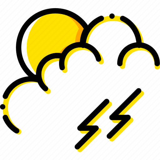 forecast, morning, storm, weather, yellow icon