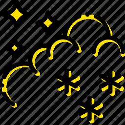 forecast, night, snow, weather, yellow icon