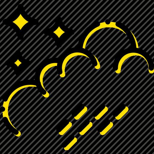 forecast, night, rain, weather, yellow icon