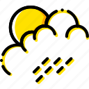 forecast, morning, rain, weather, yellow icon