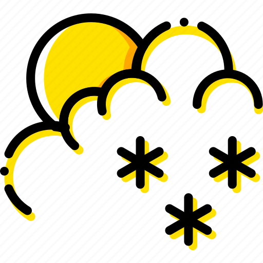 forecast, morning, snow, weather, yellow icon