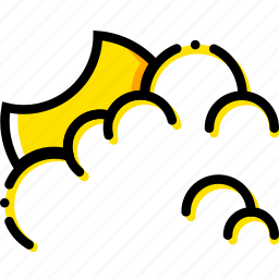 cloudy, forecast, night, weather, yellow icon