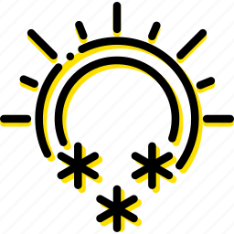 and, forecast, snowing, sunny, weather, yellow icon
