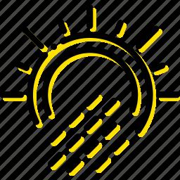 forecast, precipitations, sun, weather, with, yellow icon