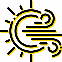 forecast, sunny, weather, windy, yellow icon