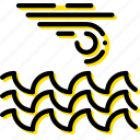 forecast, ocean, storm, weather, yellow icon