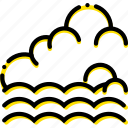 forecast, incoming, tide, weather, yellow icon