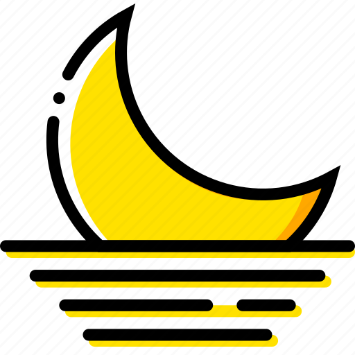 forecast, moon, setting, weather, yellow icon