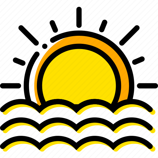 forecast, seaside, sunset, weather, yellow icon