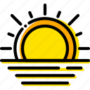 forecast, sunset, weather, yellow icon
