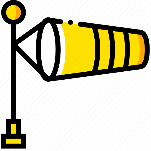 forecast, strong, weather, wind, yellow icon
