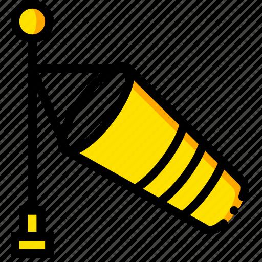 forecast, mild, weather, wind, yellow icon
