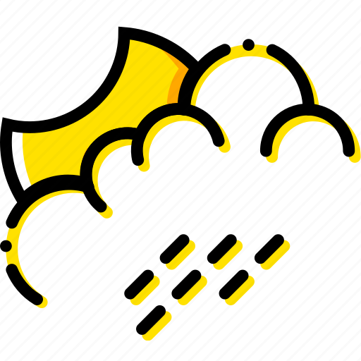 forecast, night, rainy, weather, yellow icon
