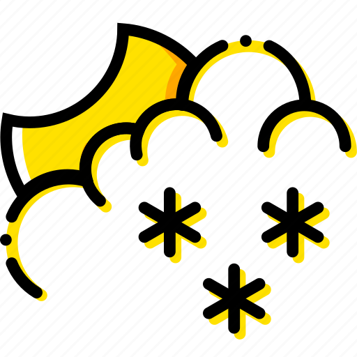forecast, night, snowy, weather, yellow icon