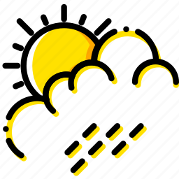 forecast, rain, summer, weather, yellow icon