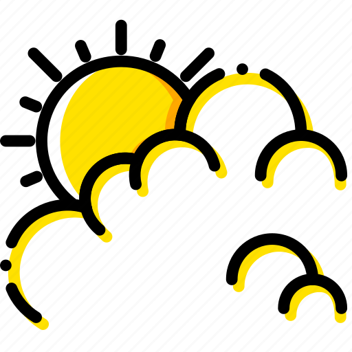 cloudy, day, forecast, weather, yellow icon