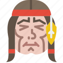 american, cowboy, face, head, headband, indian, native icon