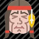 american, cowboy, face, head, headband, indian, native