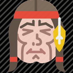 american, cowboy, face, head, headband, indian, native icon