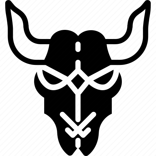 cattle, cow, cowboy, skull, solid, west, wild icon