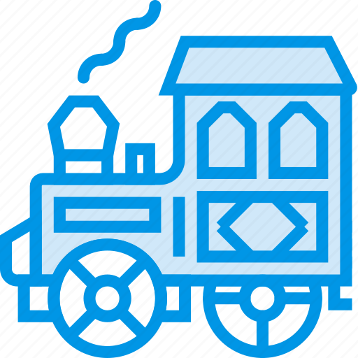 caravan, engine, heist, steam, track, train, webby icon